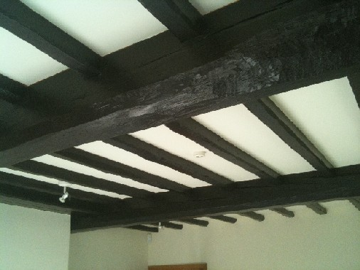 Living Room Beams Painted Black
