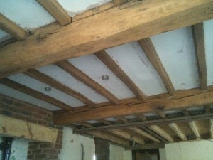 Denton Kitchen Beams After Sandblasting