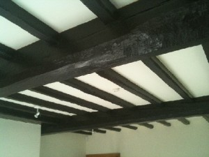 Living Room Beams Before Cleaning