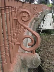 Railing support after primer coat applied